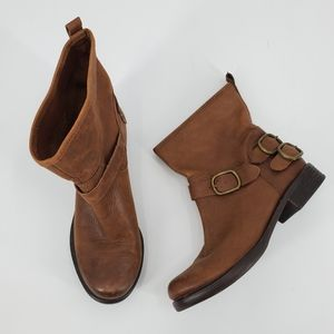 Lucky Brand Brown Leather Pull On Ankle Boots